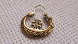Чоловіча сережка етно стиль дракона з хрестом бронзового слов′янського