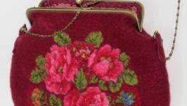 сумка валяная ′Бордо′