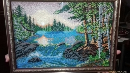 Картина вышитая бисером ′Закат солнца′
