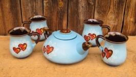 Чайний набір, декор ′Серце′ блакитний