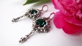 Серьги Emerald с кристаллами Swarovski