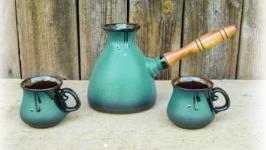 Набір кавовий (турка велика зелена з двома горнятками)