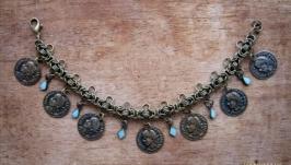Браслет цепочка с монетами в стиле бохо