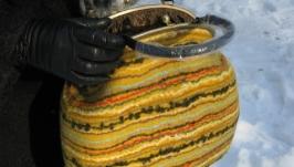 Валяная сумочка на фермуаре
