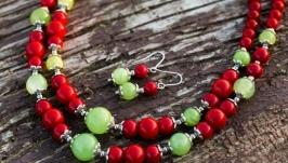 Комплект: намисто з коралів та оніксу дворядове і сережки