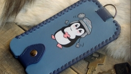 Кожаная ключница «Пингвинчик»