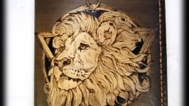 Обложка из натуральной кожи Лев (2)