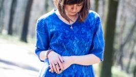 Синя валяна блузка