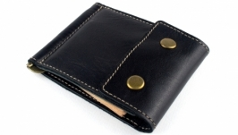 Кожаный зажим для денег Crez-2 (черный)