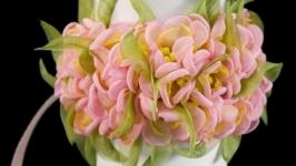 Браслет и кольцо с розовыми цветами из ткани
