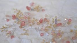 Свадебная  веточка, ободок из турмалинового кварца ′Глория′