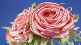 Ободок с персиковыми розами из ткани