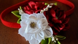 Повязка  с цветами на резинке