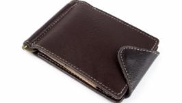 Кожаный зажим для денег Crez-3 (коричневый)