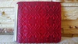 Кожаный зажим для купюр красная вышиванка