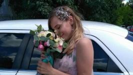 Веточка на обруче с аметистом и розовым кварцем ′Утро в саду′