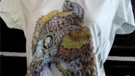 футболка с росписью ′сокол и череп′