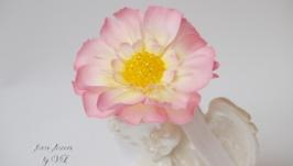 Повязка с цветком скабиозы и бусинками