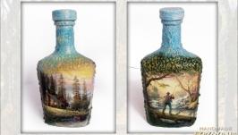 «Заядлому рыбаку» Оригинальный декор бутылки в подарок для мужчины рыбака