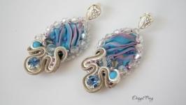 Серьги-гвоздики Шибори (голубые)