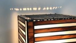 Вітражний світильник-нічник на латунній підставці.
