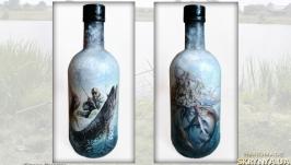 «Удачная рыбалка» Оригинальный декор бутылки в подарок для мужчины рыбака