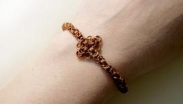 Женский медный браслет цепочка, византийское плетение