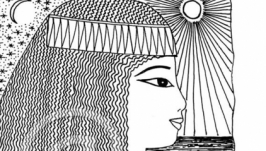 В египетском стиле. Портрет женщины. Черно-белая графика. Принт. 12