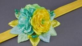 Повязка на голову с цветами из лент