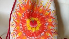 Текстильный тканевый эко рюкзак авторская Петриковская роспись Солнышко