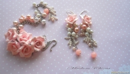 Бело - розовый комплект украшений