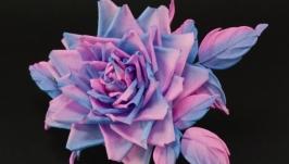 Брошь-заколка с розой из ткани