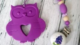 Держатель для соски и игрушки-грызунка ′Фиолетовая Совушка′