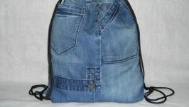 Джинсовая сумка-рюкзак на веревках 38х43 см