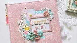 Детский фотоальбом для новорожденной, розовый беби-бук для девочки