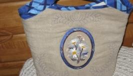 Сумка с вышивкой ′Ромашки′ 35х30 см лен,синтепон.