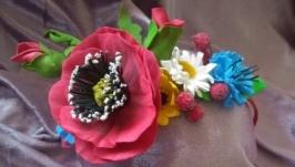 Обруч из фоамирана, цветки мака.