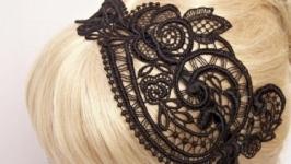 Повязка для волос. Аксессуар для волос, обруч кружево.