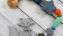 Держатель для соски и игрушки-грызунка ′Лисятки′