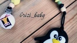 Силиконовая прищепка-держатель, прорезыватель-грызун ′Пингвин′