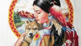 ВЫшитая картина ′Шаманка с волком′