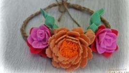 Цветочная корона из фетра
