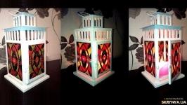 Фонарь для свечи с витражной росписью