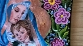 Икона на досточке с петриковской росписью