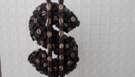 Топиарий ручной работы из кофейных зерен