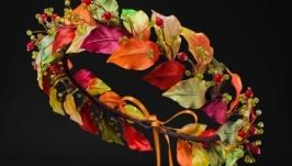 Осенний веночек из листьев для волос