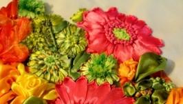 Картина лентами «Герберы и розы»
