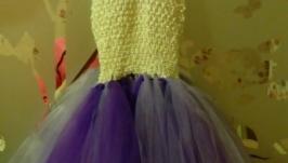 Платье пышное детское ′Праздник′,фиолетово-белое, ′ту-ту′