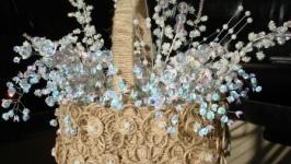 Корзинка из паеток, бус и декоративного жгута
