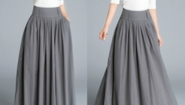 Длинная юбка макси серая